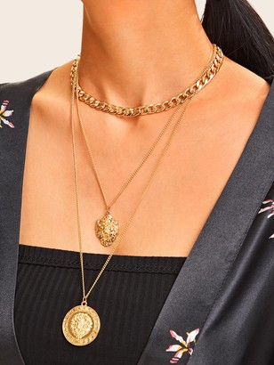 Shein Lion Head Pendant Layered Chain Necklace 1pc