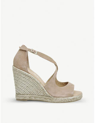 Office Halkidiki suede espadrille wedge heel sandals