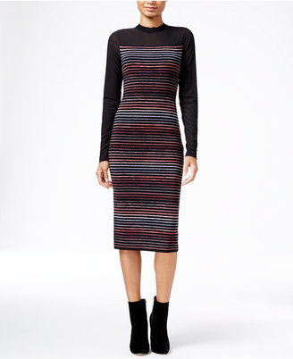RACHEL Rachel Roy Illusion Striped Midi Sweater Dress $169 thestylecure.com