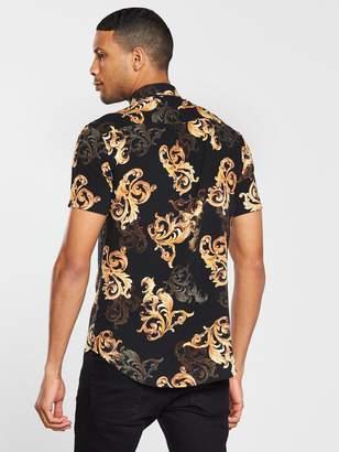 SikSilk High Collar Resort Shirt - Black