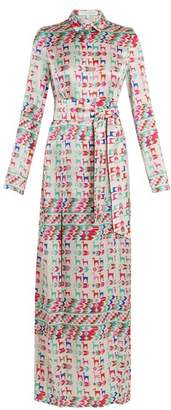 Galvan - Andina Llama Print Silk Satin Shirtdress - Womens - White Multi