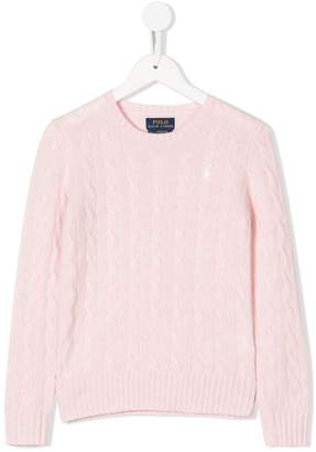 Ralph Lauren logo cable-knit sweater