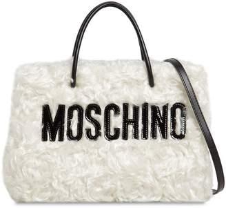 Moschino Logo Shopper Mohair Tote Bag
