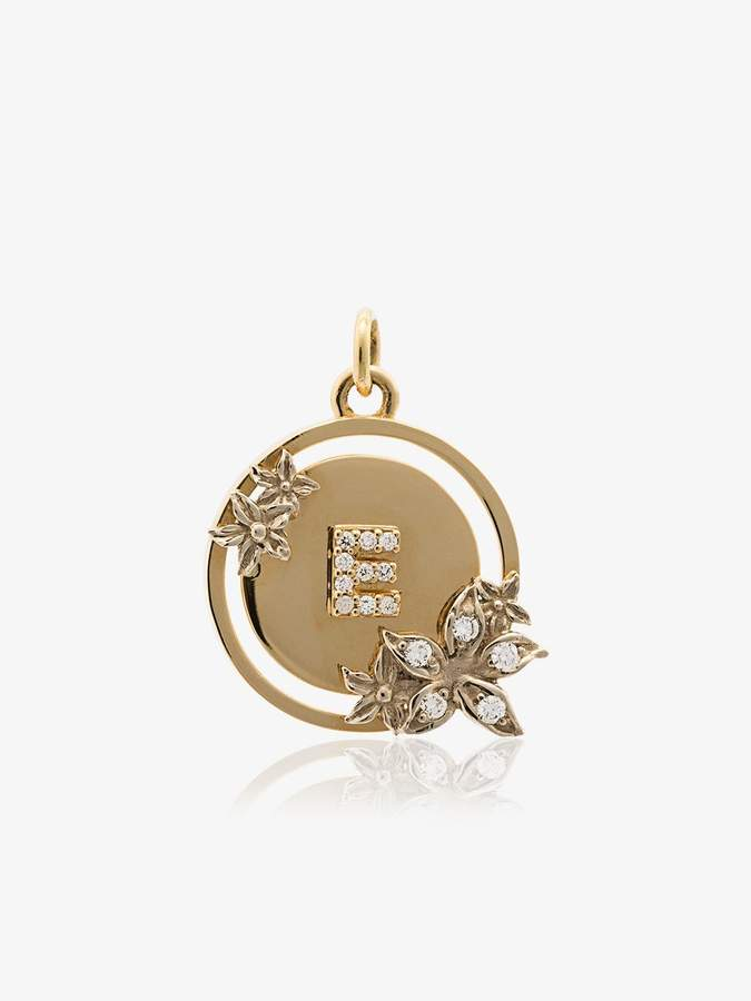 Foundrae 18k yellow gold and diamond flower initial charm
