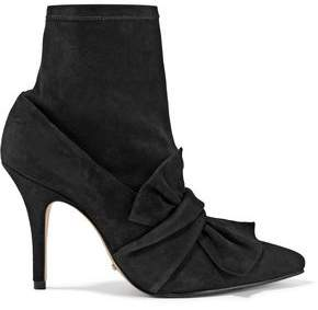 Schutz Gorcha Bow-Embellished Suede Ankle Boots