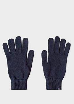 Men's Navy Lambswool Gloves