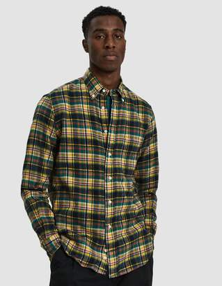 Gitman Brothers Hunter Plaid Flannel Shirt in Yellow