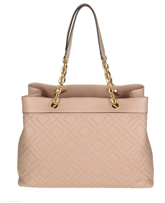 Tory Burch Fleming Triple Compartment Tote Leather Powder Color