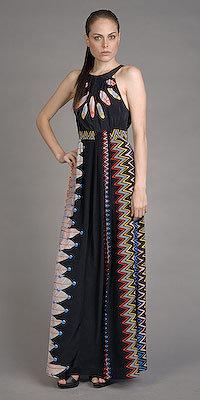 Black Dakota Print Long Dresses by Tibi