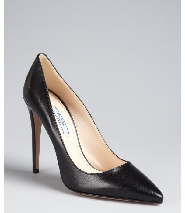 Prada black leather point toe pumps