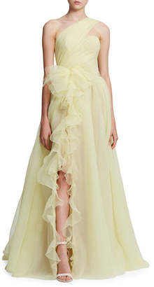 Marchesa One-Shoulder Cascading Organza Gown