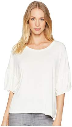 Angie Ruffle Sleeve Sold Knit Top Women's Clothing