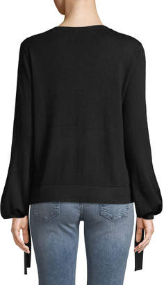 BCBGMAXAZRIA Tie-Detail Long-Sleeve Pullover Sweater