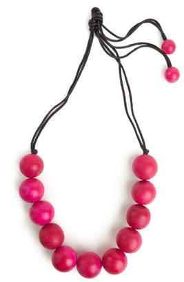 Josie Natori Large Wood Bead Necklace - Rose Pink