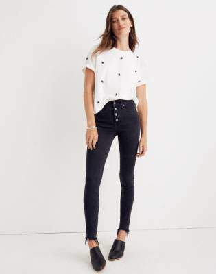 """Madewell Tall 9"""" High-Rise Skinny Jeans in Berkeley Black: Button-Through Edition"""