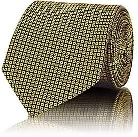 Brioni Men's Geometric-Pattern Silk Jacquard Necktie - Yellow