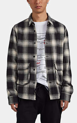 RtA Men's Plaid Cotton Flannel Work Shirt - Black