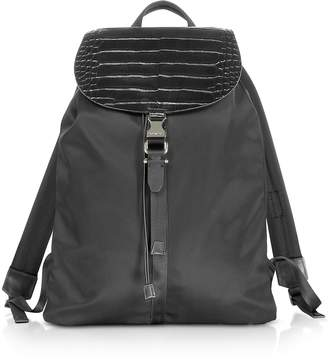 Black Embossed Croco Leather and Nylon Rucksack