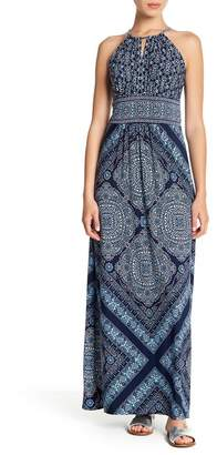 London Times Keyhole Halter Maxi Dress (Petite)