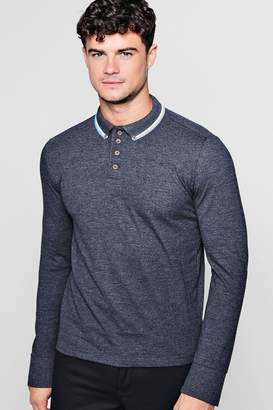 boohoo Long Sleeve Pique Polo With Tipping