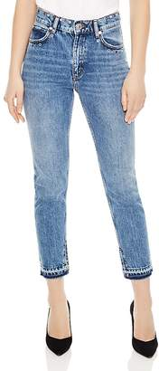 Sandro Mood Frayed Hem Grommeted Jeans