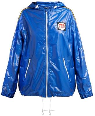 Miu Miu Nylon Hooded Windbreaker Jacket - Womens - Blue
