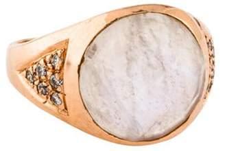 Jacquie Aiche 14K Moonstone & Diamond Pinky Ring rose 14K Moonstone & Diamond Pinky Ring