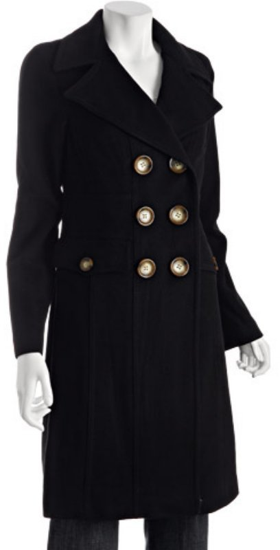 MICHAEL Michael Kors black wool-blend double breasted walker coat