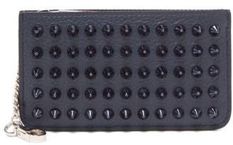 Christian Louboutin Credilou Spike Embellished Leather Cardholder - Mens - Blue