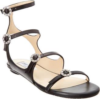 Jimmy Choo Naia Crystal Buckle Leather Sandal