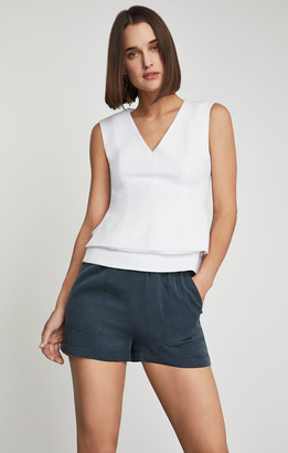 BCBGMAXAZRIA Sleeveless Tiered Peplum Top