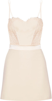 Lace And Satin-trimmed Stretch-silk Crepe De Chine Chemise - Cream