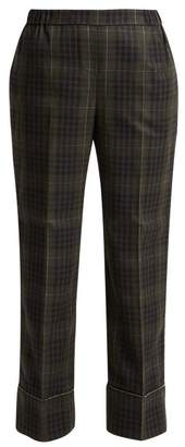 No.21 No. 21 - Crystal Embellished Checked Cropped Trousers - Womens - Green Multi