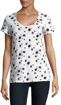 Lord & Taylor Sunflower-Print Cotton Slub V-neck Roll Sleeve Tee