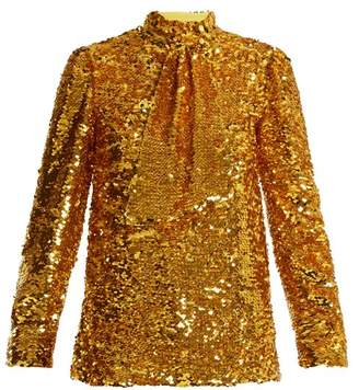 MSGM Tie Neck Sequin Embellished Top - Womens - Gold