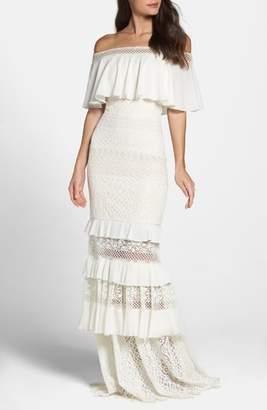 Tadashi Shoji Off the Shoulder Crochet Gown