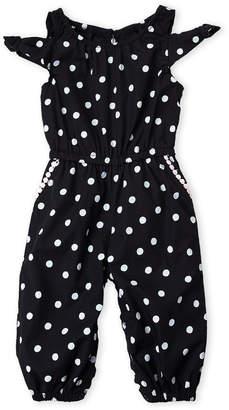 Flapdoodles Infant Girls) Polka Dot Cold Shoulder Jumpsuit