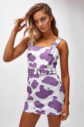 Jaded London Womens **Lilac Cow Print Dress By Purple