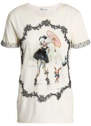 RED Valentino Lace-Trimmed Printed Cotton-Jersey T-Shirt