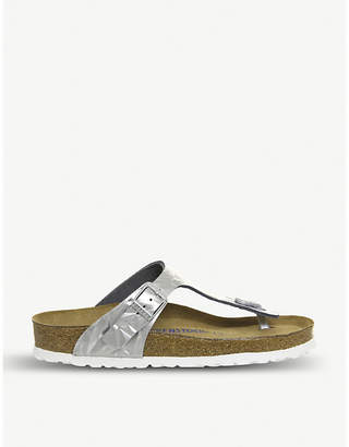 Birkenstock Gizeh cracked-effect leather sandals e2a7d2b9488