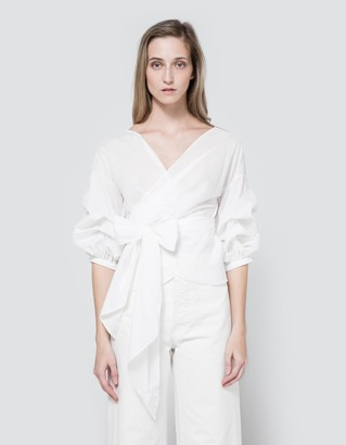 Jayne Wrap Top in White $78 thestylecure.com