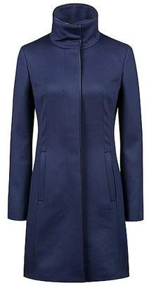 HUGO BOSS Slim-fit virgin wool blend coat with piping