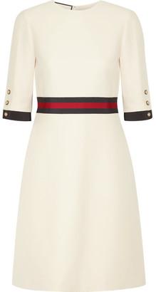 Gucci - Grosgrain-trimmed Wool And Silk-blend Mini Dress - Cream $1,980 thestylecure.com