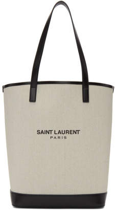 Saint Laurent Off-White Teddy Shopping Tote