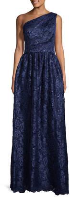 Carmen Marc Valvo Women's Lace Sequin Pleated Gown