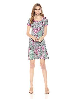 MSK Women's Printed t-Shirt Dress with Contrasting Piping
