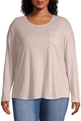 A.N.A Long Sleeve Printed Pocket T-Shirt - Plus