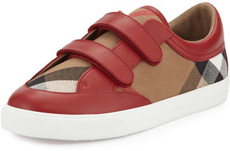 Burberry Heacham Check Canvas Sneaker, Red/Tan, Youth $185 thestylecure.com