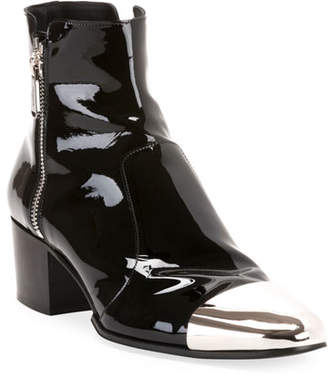 Balmain Men's Karen Metal-Toe Patent Leather Boots