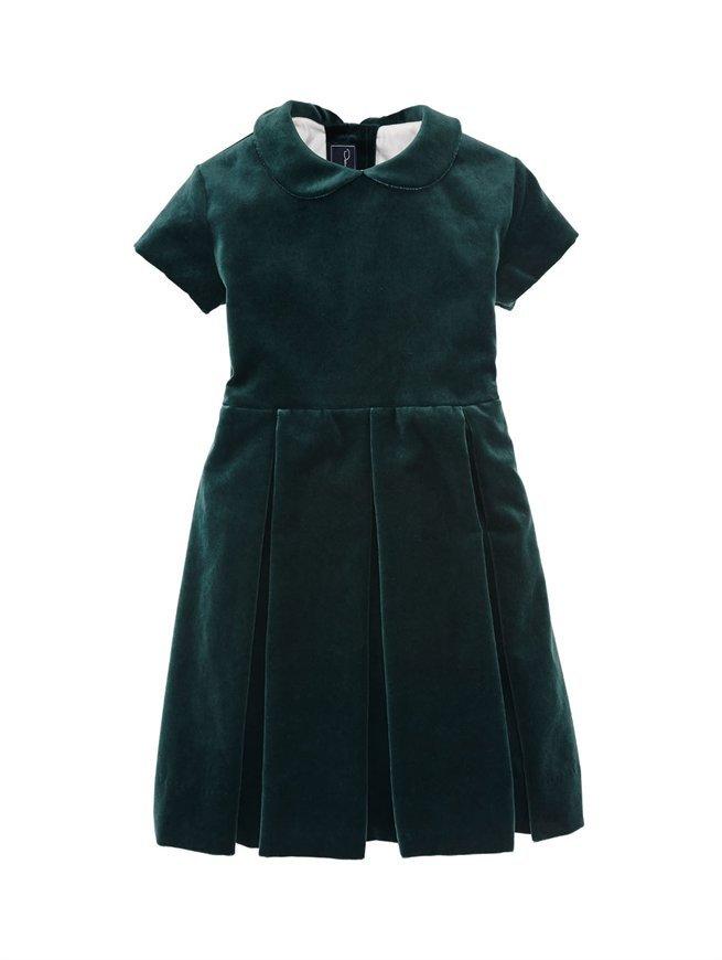Oscar de la Renta Girls' Velvet Box Pleat Dress